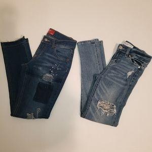 Girls Distressed Skinny Jean's Suze 10